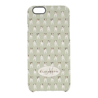 tiny terriers pattern jack russell monogram sage clear iPhone 6/6S case