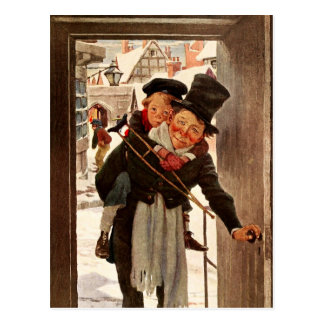Tiny Tim and Bob Cratchit on Christmas Day Postcard