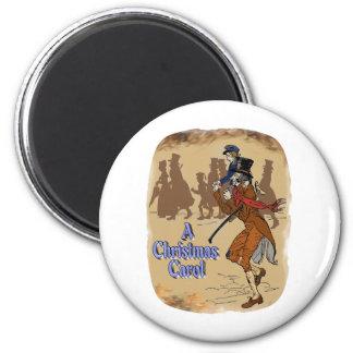 Tiny Tim on Bob Crachit's shoulder 6 Cm Round Magnet