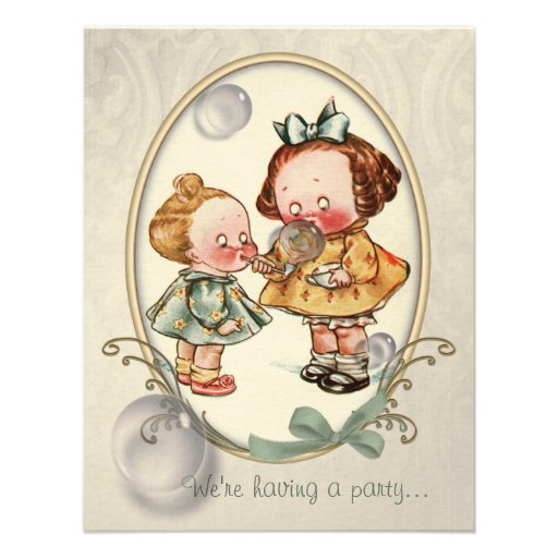 Tiny Toddlers Vintage Illustration Invites