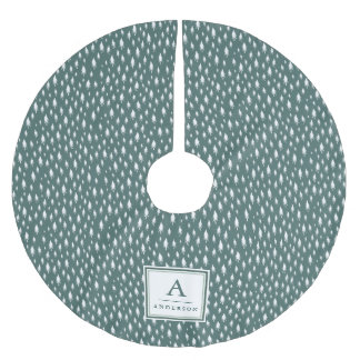 Tiny Trees | Monogrammed Spruce Green Brushed Polyester Tree Skirt