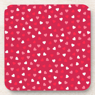 Tiny Valentine Hearts in Red White Pink Coaster
