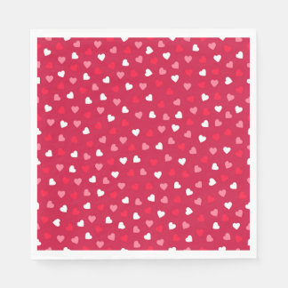 Tiny Valentine Hearts in Red White Pink Disposable Napkins