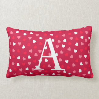 Tiny Valentine Hearts in Red White Pink Lumbar Cushion