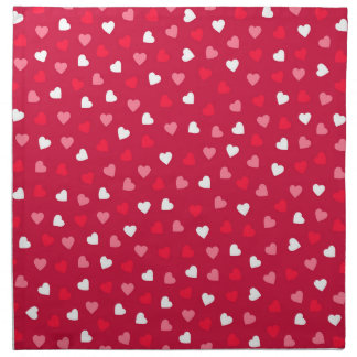 Tiny Valentine Hearts in Red White Pink Napkin