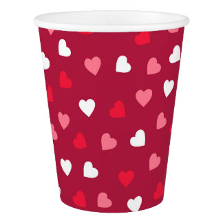 Tiny Valentine Hearts in Red White Pink Paper Cup