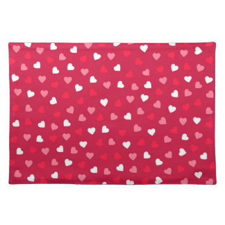 Tiny Valentine Hearts in Red White Pink Placemat