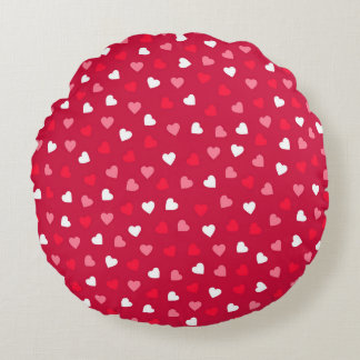 Tiny Valentine Hearts in Red White Pink Round Cushion