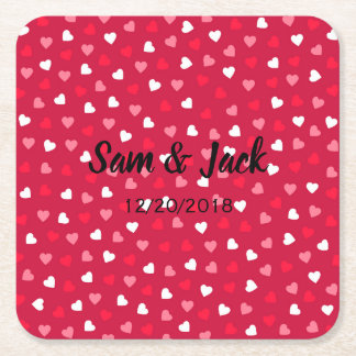 Tiny Valentine Hearts in Red White Pink Square Paper Coaster