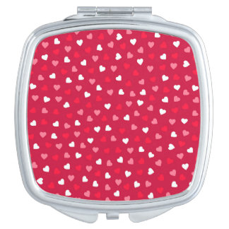 Tiny Valentine Hearts in Red White Pink Vanity Mirrors
