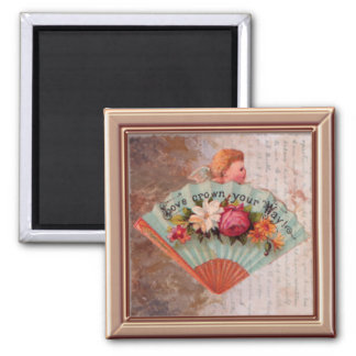 Tiny Victorian Ladies' Fan Print Magnet