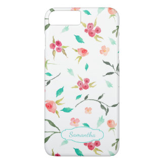 Tiny Watercolor Floral Pattern with Name iPhone 8 Plus/7 Plus Case