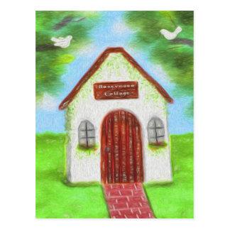 Tiny White Cottage Wedding Thank You Postcard