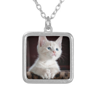 Tiny White Kitten Silver Plated Necklace