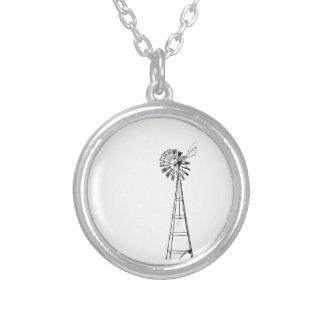 tiny windmill small round necklace