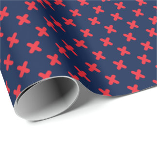 Tiny Xs Red on Navy Blue Wrapping Paper