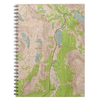 Tioga Pass, California Topographic Map Spiral Notebook