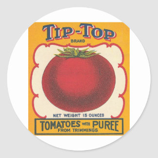 Tip-Top Tomatoes Vintage Label Round Sticker