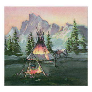 TIPI FIRES by SHARON SHARPE Poster