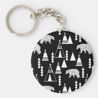 Tipi Forest Bear - Black/White / Andrea Lauren Basic Round Button Key Ring