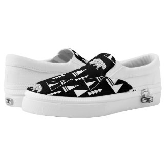 Tipi Forest Bear - Black/White / Andrea Lauren Printed Shoes