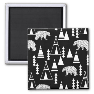 Tipi Forest Bear - Black/White / Andrea Lauren Square Magnet