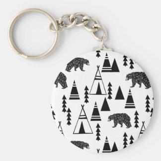 Tipi Forest Bear Geo Southwest / Andrea Lauren Basic Round Button Key Ring