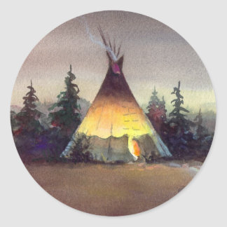 TIPI LIGHTS by SHARON SHARPE Classic Round Sticker
