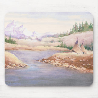 TIPIS ON RIVER BANK by SHARON SHARPE Mouse Pad