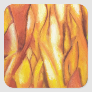 Tipped Flames (abstract expressionism) Square Sticker