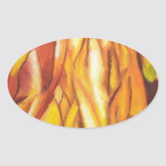 Tipped Flames (abstract expressionism) Oval Sticker