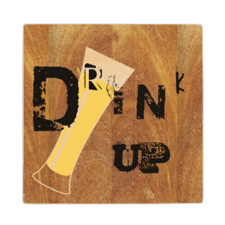 Tipsy Drink Up Beer Wood Coaster