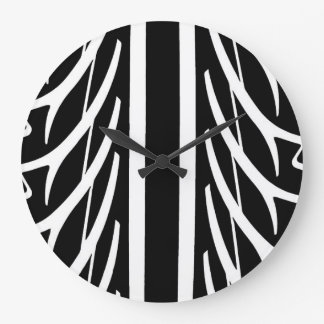 Tire Pattern in Black and White Large Clock