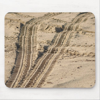 tire tracks in the sand mouse pads