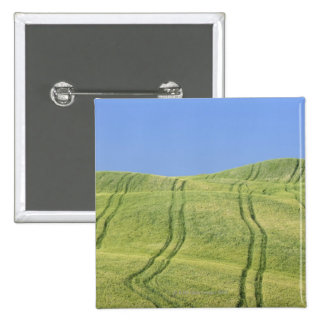 Tire Tracks in Wheat Field Val d Orcia Siena Pinback Buttons
