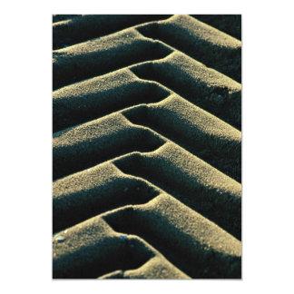 Tire tracks on beach 13 cm x 18 cm invitation card