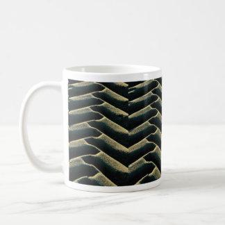 Tire tracks on beach coffee mugs