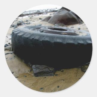 Tire Tracks Round Sticker