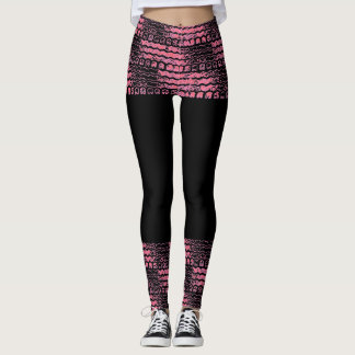 Tire Tread Leggings Pink and Black Skirt