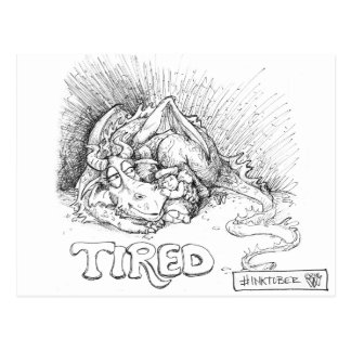 Tired Dragon and Girl Ink Postcard