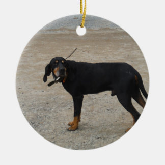 Tired Hunting Dog Ceramic Ornament