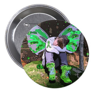 Tired Lyme Disease Warrior with Angel Wings 7.5 Cm Round Badge