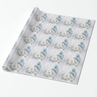 Tired Polar Bear Mother With Babies Wrapping Paper