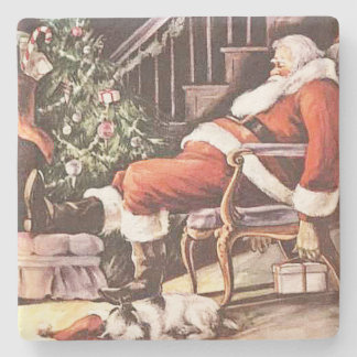 Tired Santa Claus Christmas Stone Coaster