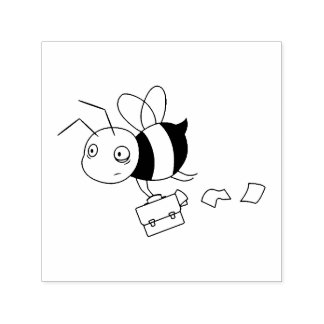 Tired Stressed Bee Holding Briefcase Self-inking Stamp