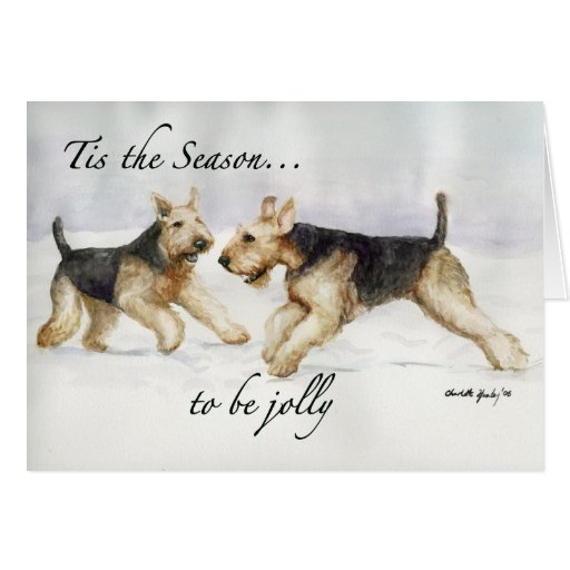 """Tis the Season"" Airedale Dog Art Christmas Card"