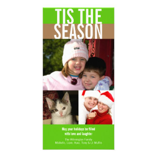 Tis the season bold green brown Christmas greeting Personalised Photo Card