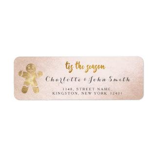 Tis The Season Champaign Golden Gingerbread New Return Address Label