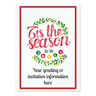 Tis The Season Christmas 17 Cm X 22 Cm Invitation Card