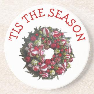'Tis the Season Christmas wreath coaster